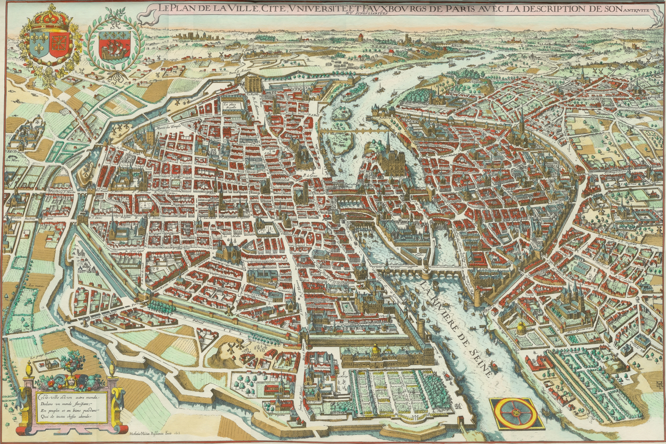 plano París ciudad Merian