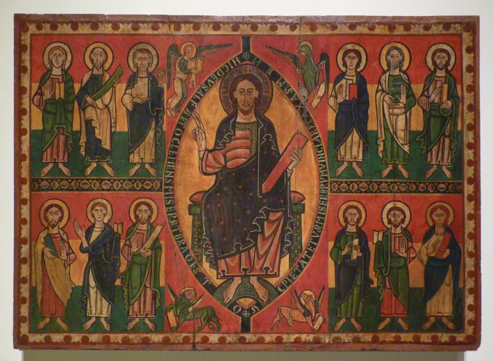 Frontal de altar de Esquius. Autor: Anónimo. Cataluña. Taller de Ripoll. Procede probablemente de la antigua iglesia de Santa María del castillo de Besora, Segundo cuarto del siglo XII